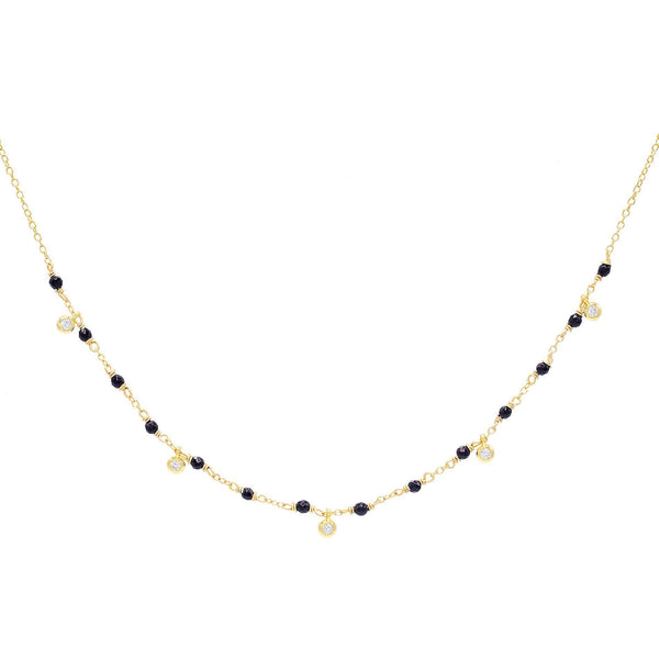 Onyx Stone Chain Necklace - Adina's Jewels