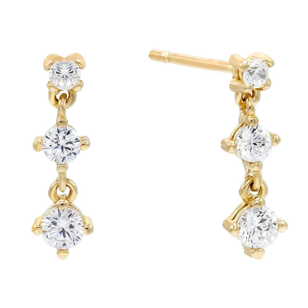 14K Gold / Single Trio Stone Drop Stud Earring 14K - Adina's Jewels
