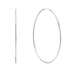 14K White Gold / 50 MM Endless Hoop Earring 14K - Adina's Jewels