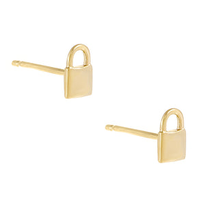 Gold / Engraved Engraved Mini Lock Stud Earring - Adina's Jewels