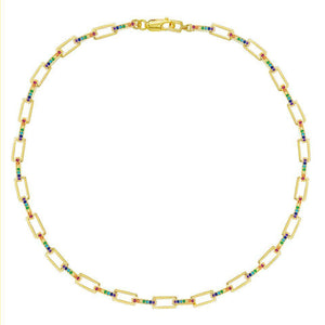 Chunky Pave Box Chain Necklace - Adina's Jewels