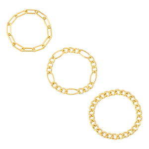 Trio Mixed Chain Ring Set Gold / 5-6 - Adina's Jewels