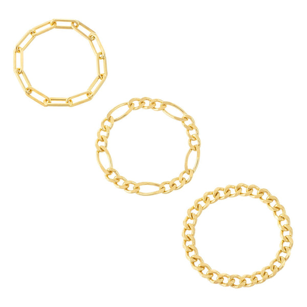 Trio Mixed Chain Ring Set Gold / 9-10 - Adina's Jewels