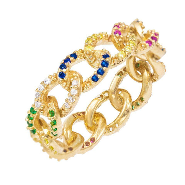 Multi-Color / 6 Multi-Colored Cuban Chain Ring - Adina's Jewels
