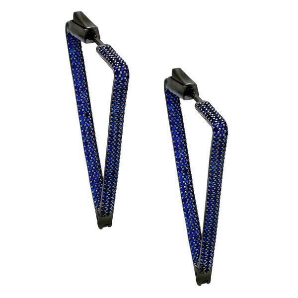 Sapphire Blue Pavé Triangle Hoop Earring - Adina's Jewels