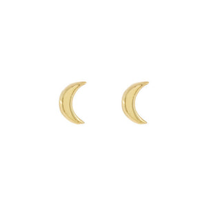 Gold Tiny Solid Moon Stud Earring - Adina's Jewels