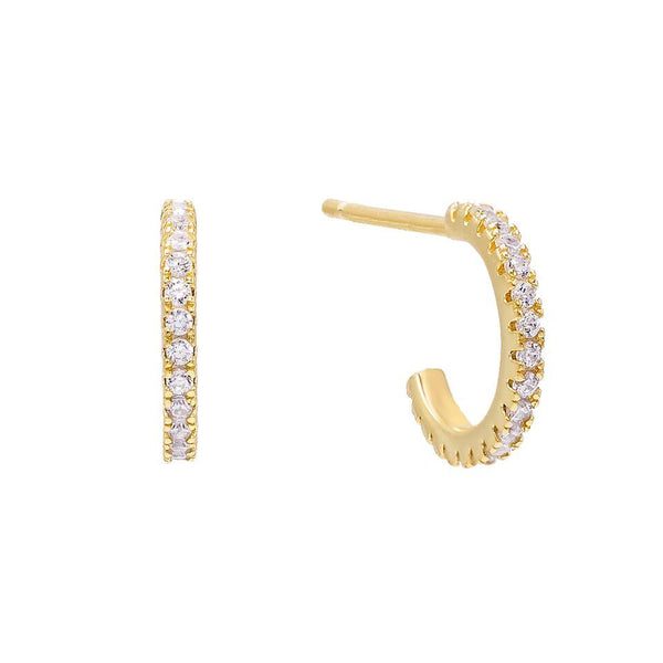 Gold CZ Hoop Stud Earring - Adina's Jewels