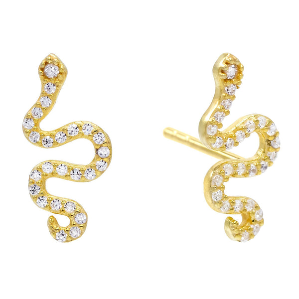 CZ Snake Stud Earring Gold - Adina's Jewels