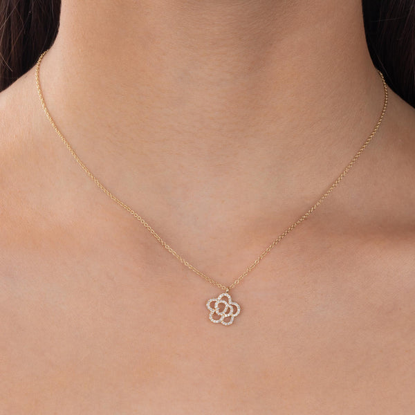 Diamond Flower Necklace 14K  - Adina's Jewels