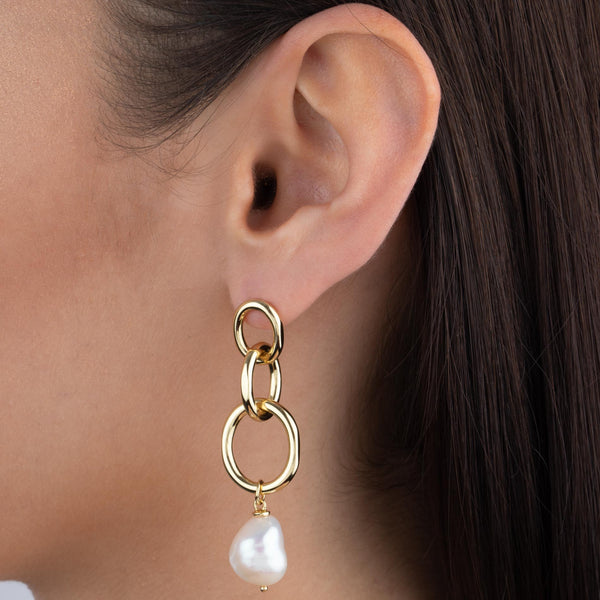 Triple Link X Pearl Drop Earring  - Adina's Jewels