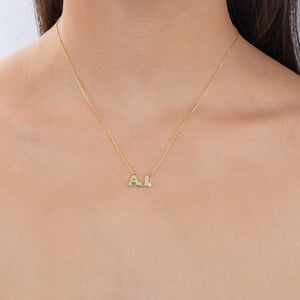 Double Initial Block Necklace  - Adina's Jewels