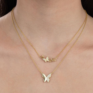 Solid X CZ Butterfly Necklace  - Adina's Jewels