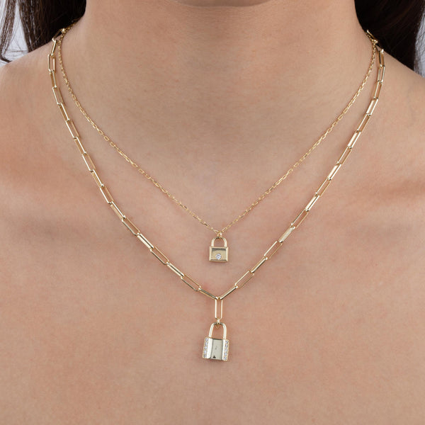 CZ Lock Link Necklace  - Adina's Jewels