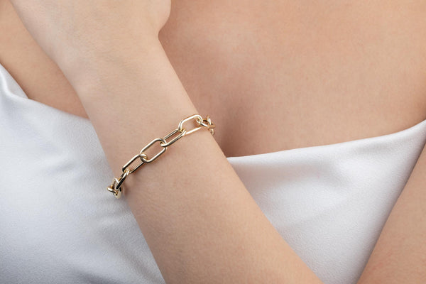 Hollow Chunky Link Bracelet 14K - Adina's Jewels