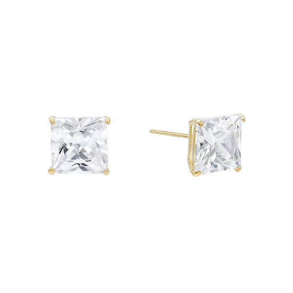 14K Gold / 6 MM / Pair Princess Cut Stud Earring 14K - Adina's Jewels