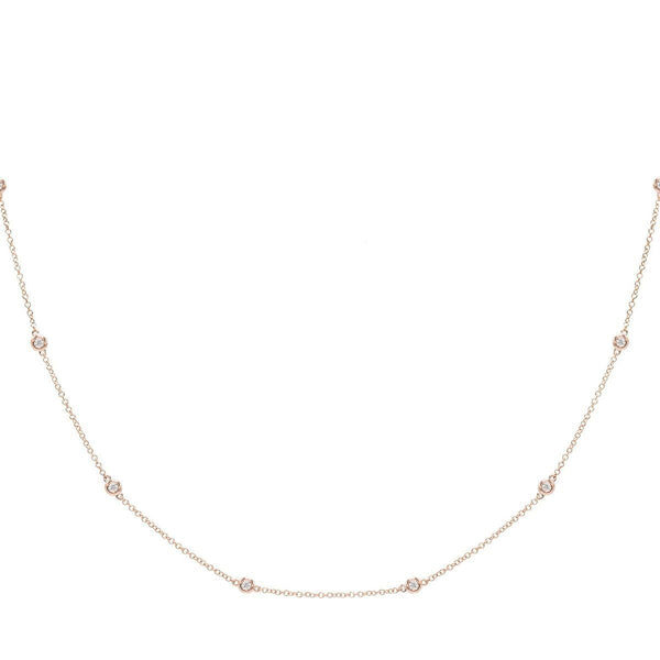 Diamond Bezel Chain Necklace 14K