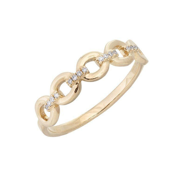 14K Gold / 5 Diamond Link Ring 14K - Adina's Jewels