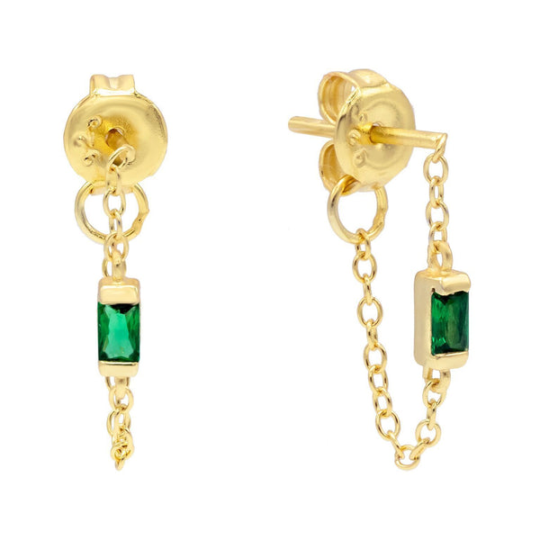 Emerald Green Stone Chain Stud Earring - Adina's Jewels