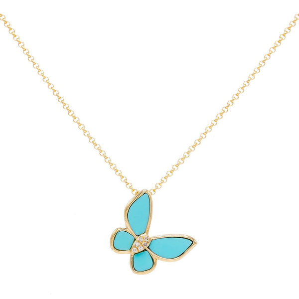 Turquoise Butterfly Necklace 14K