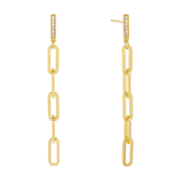 Gold Pavé Bar Drop Open Link Earring - Adina's Jewels