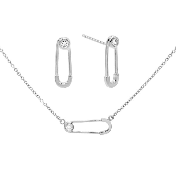 Silver Safety Pin Earring & Necklace Combo Set - Adina's Jewels
