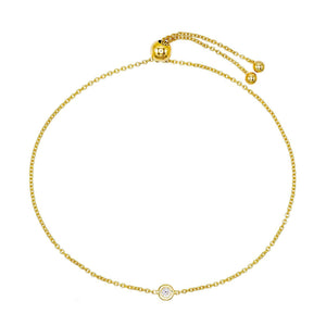 14K Gold Diamond Adjustable Bracelet 14K - Adina's Jewels