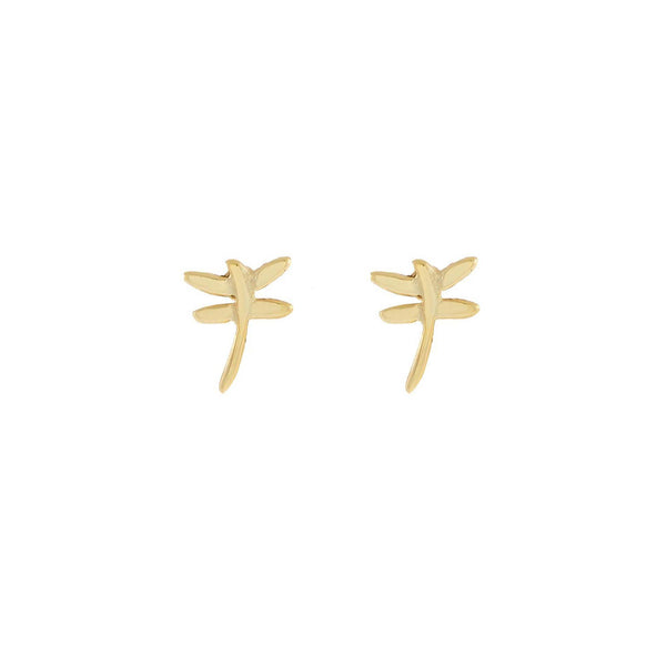 Gold Tiny Solid Dragonfly Stud Earring - Adina's Jewels
