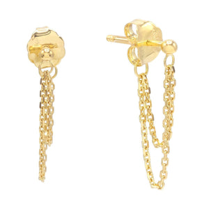14K Gold Double Chain Stud Earring 14K - Adina's Jewels