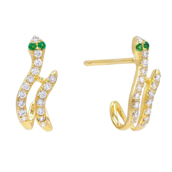 Emerald Green Snake Hook Stud Earring - Adina's Jewels