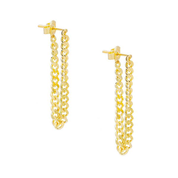 Gold / Pair Cuban Link Drop Stud Earring - Adina's Jewels