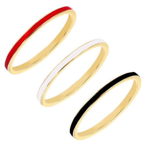 Combo / 5 Enamel Trio Ring Set - Adina's Jewels