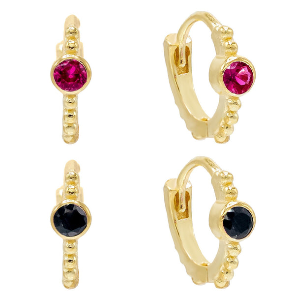 Mini Bezel Huggie Earring Combo Set