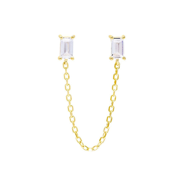 Gold / Single Double Baguette Chain Stud Earring - Adina's Jewels