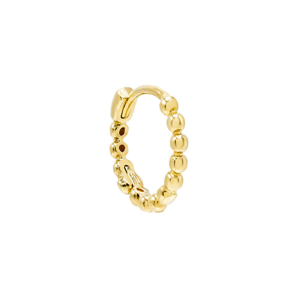 Gold / Single Beaded Huggie Earring 14K - Adina's Jewels