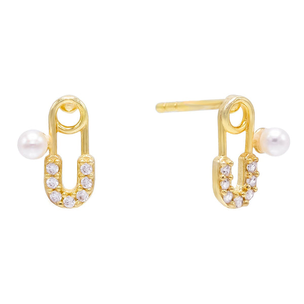 Pearl White CZ Pearl Safety Pin Stud Earring - Adina's Jewels