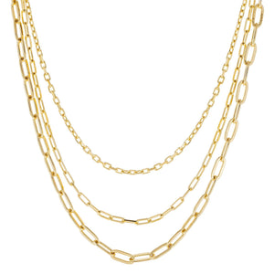 Three In One Oval Chain Necklace Gold - Adina's Jewels
