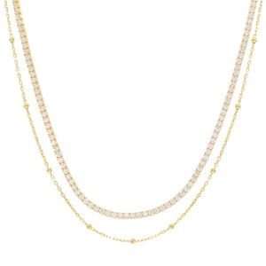 Tennis & Ball Chain Choker Gold - Adina's Jewels