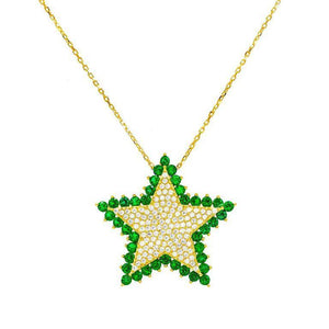 Stone Star Necklace Emerald Green - Adina's Jewels