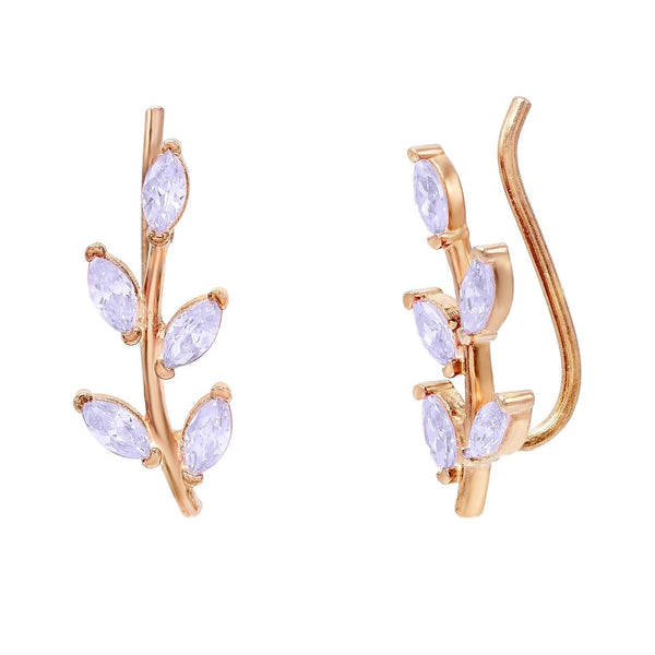 Lilac Colored Leaf Stone Ear Climber - Adina's Jewels