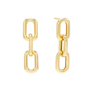 Gold Large Link Drop Stud Earring - Adina's Jewels