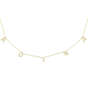 Gold Pavé Block Name Necklace - Adina's Jewels