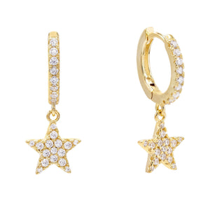 Pavé Dangling Star Huggie Earring Gold - Adina's Jewels