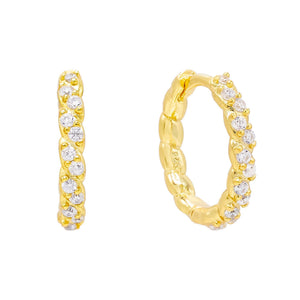 Gold CZ Rope Huggie Earring - Adina's Jewels