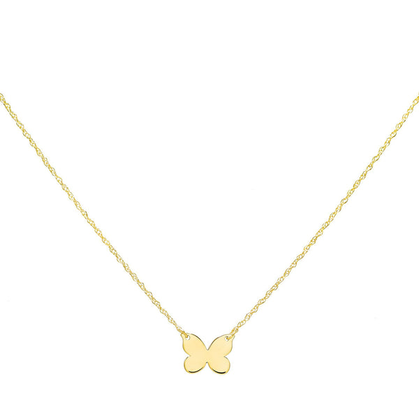 14K Gold Butterfly Pendant Necklace 14K - Adina's Jewels