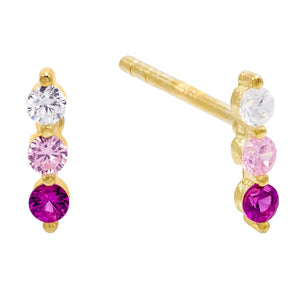 Color-Block Stud Earring Sapphire Pink - Adina's Jewels