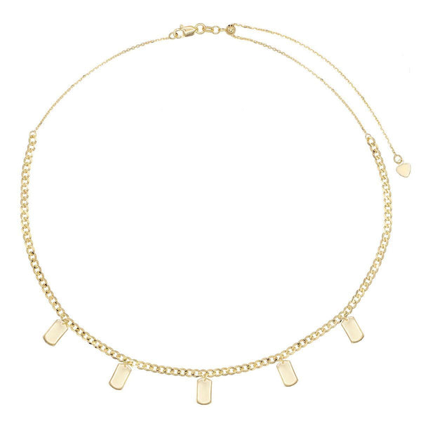 Engraved Tag Chain Necklace 14K - Adina's Jewels