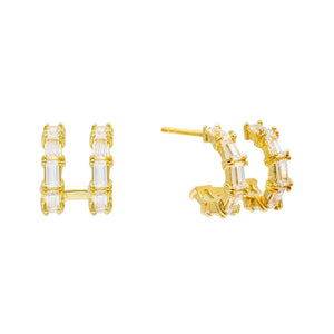 Double Row Baguette Huggie Earring Gold - Adina's Jewels