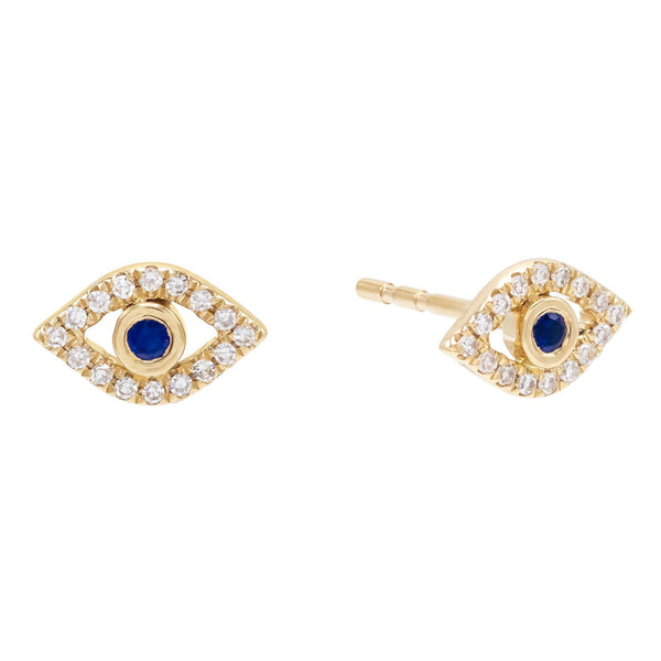 Sapphire Blue Diamond Evil Eye Stud Earring 14K - Adina's Jewels