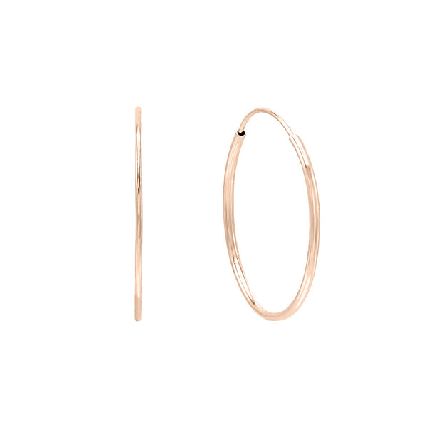 14K Rose Gold / 20 MM Endless Hoop Earring 14K - Adina's Jewels