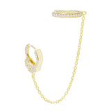 Gold / Single CZ Handcuff Chain Ear Cuff X Huggie Earring - Adina's Jewels